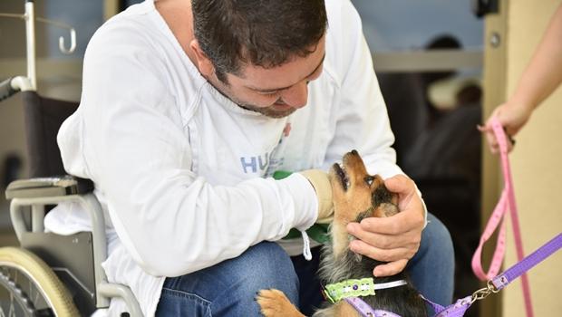 Após permissão do Hugol, paciente recebe visita de seus animais de estimação