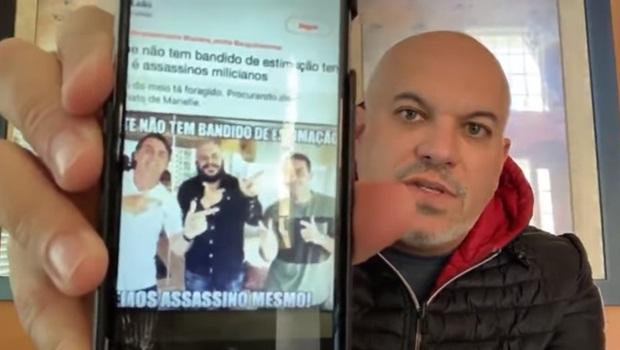 """Confundiram ator Sandro Rocha, de """"Tropa de Elite"""", com miliciano em foto com Jair e Flávio Bolsonaro"""
