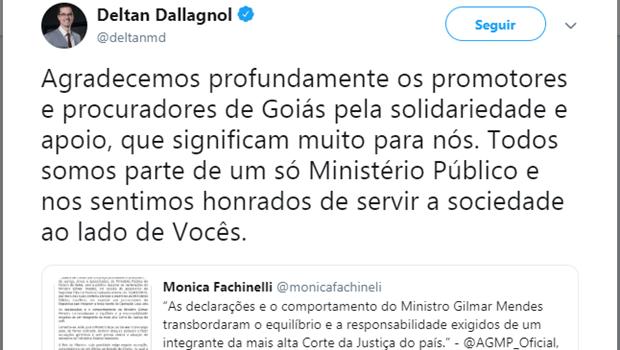 AGMP repudia falas de Gilmar Mendes contra Lava Jato e Dellagnol agradece apoio goiano