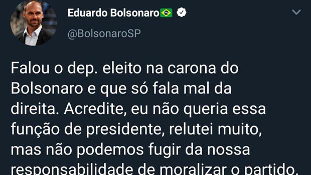 """Eduardo Bolsonaro e Frota trocam acusações sobre quem é """"caroneiro"""" do presidente"""