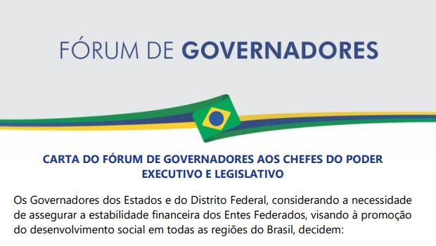 Fórum de Governadores entrega carta de reivindicações ao presidente Bolsonaro