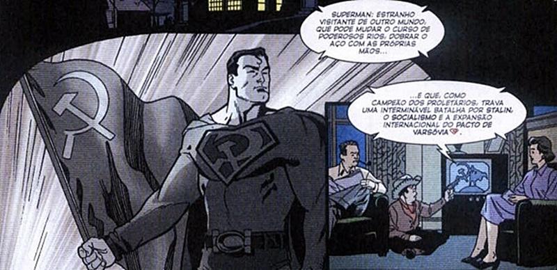 Superman comunista vigia o mundo do céu e impõe a paz