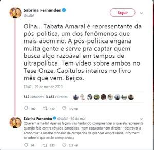 Post de Sabrina Fernandes criticando Tabata Amaral
