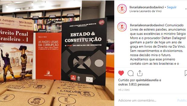 Livraria oferece um ano de livros grátis sobre direito para Moro e Dallagnol