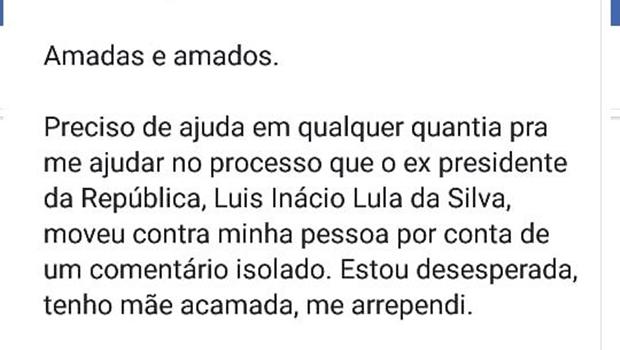 Mulher que celebrou morte de neto do Lula pede ajuda financeira para pagar processo