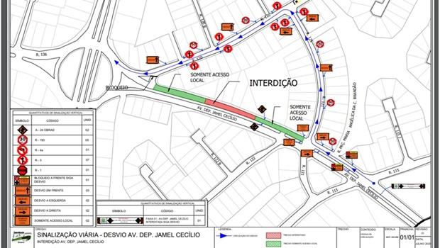 Trecho da Avenida Jamel Cecílio será interditado a partir desta quinta