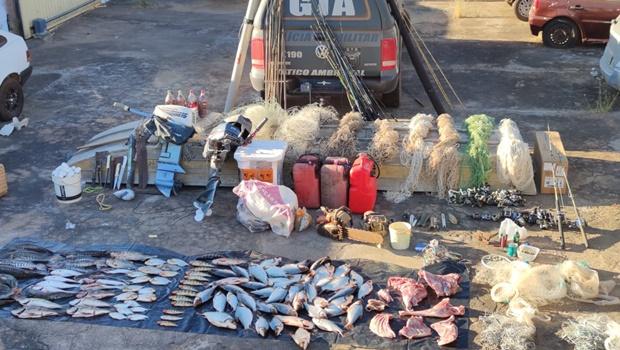 Operação apreende pescado em extinção e arsenal predatório em Luiz Alves