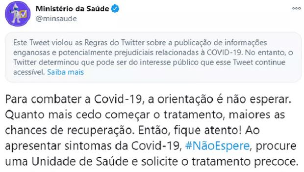 Twitter marca publicação do Ministério da Saúde como enganosa