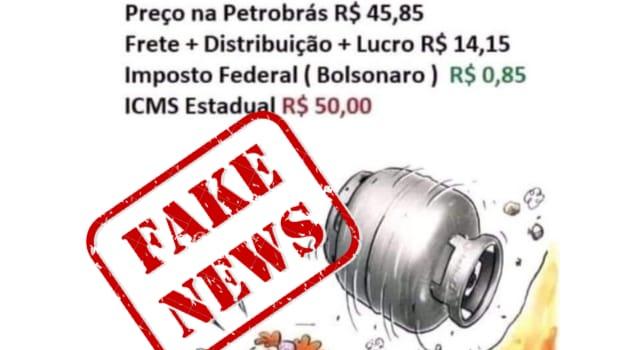 É Fake que ICMS representa R$50 no preço do botijão de gás