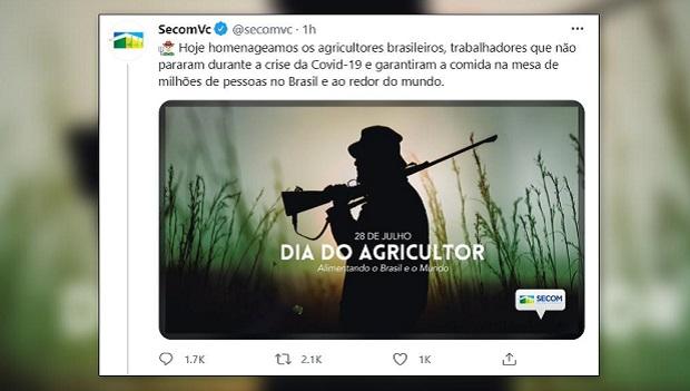 Governo Bolsonaro publica foto de homem armado no campo para homenagear o Dia do Agricultor