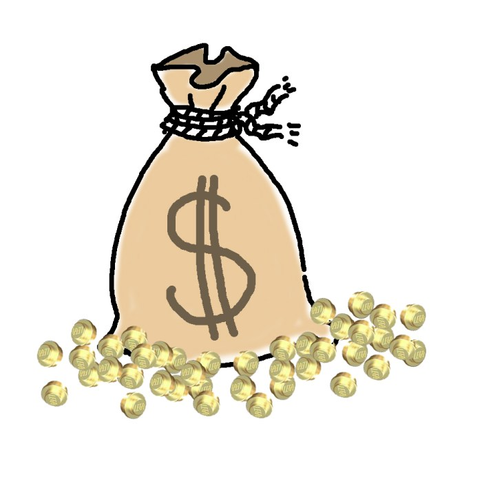 Gold studs in sack instead of dollars and sterling