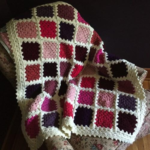 pink purple scrappy granny square afgahn