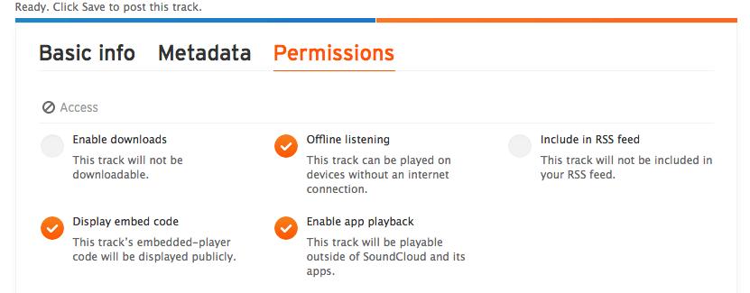 Permisos en Soundcloud