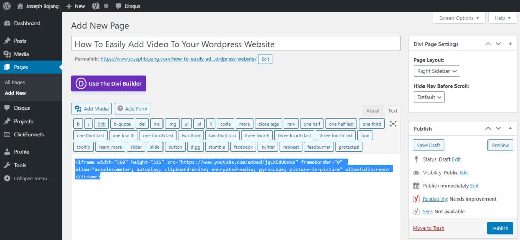 Embedd Video To WordPress Page