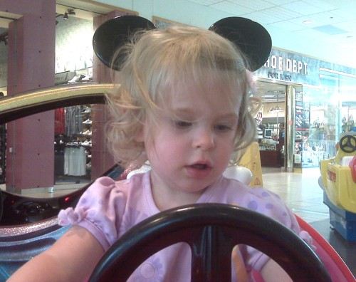 "Her first ""quarter horse"", the Mickey Mouse car"