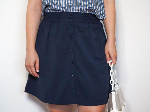 falda acampanada azul marino Josephine Looks