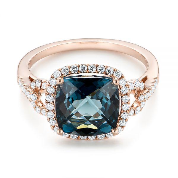 London Blue Topaz And Diamond Halo Fashion Ring 103767 Seattle Bellevue Joseph Jewelry