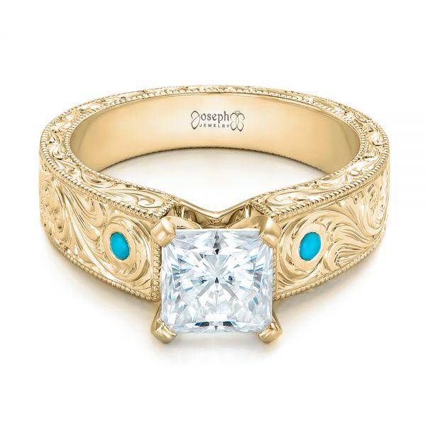 18k Yellow Gold Custom Diamond And Turquoise Engagement Ring 102366 Seattle Bellevue Joseph