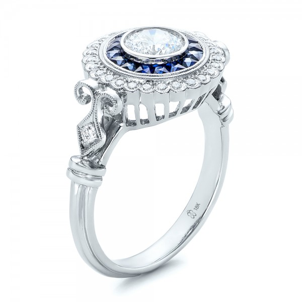 Double Halo Sapphire And Diamond Engagement Ring 101986