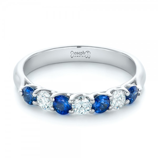 Custom Blue Sapphire And Diamond Wedding Band 102404