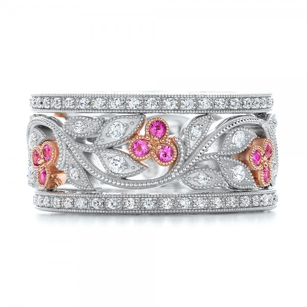 Diamond And Pink Sapphire Organic Stackable Eternity Band