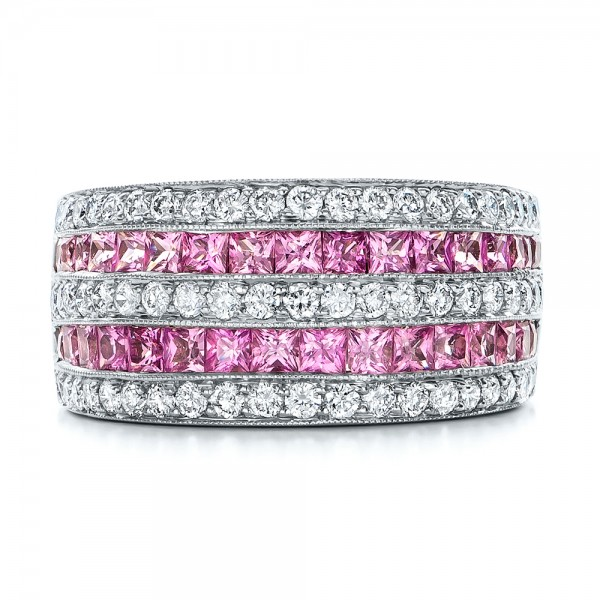 Pink Sapphire And Diamond Anniversary Band 101331