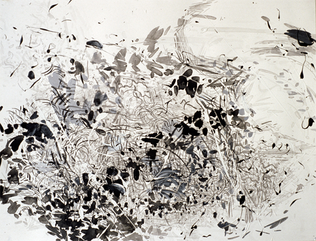 Sheaves, ink, gesso and acrylic on paper, 20 x 26 inches, 1980.