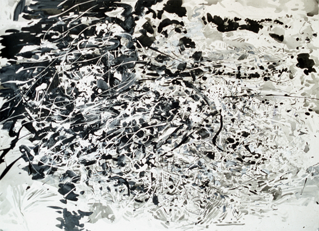 Full Flowing, ink, gesso and acrylic on paper, 22 x 30 inches, 1980.