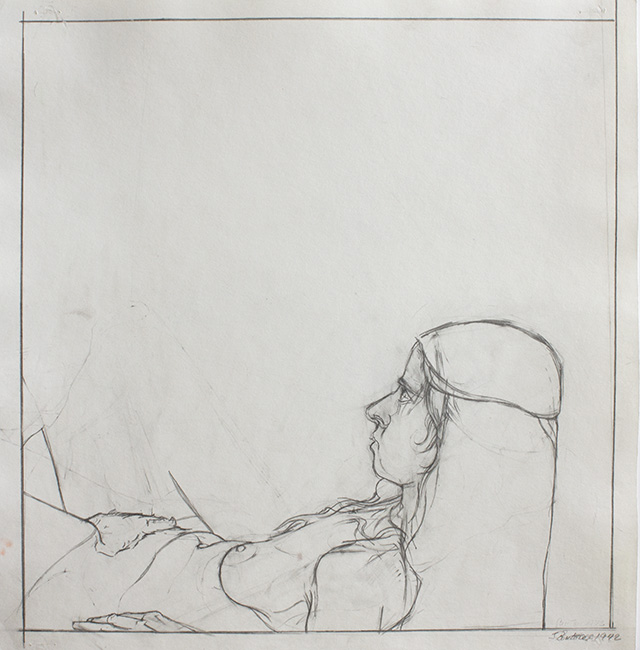 Rosie on Back, pencil on backdrop paper, 13.375 x 12.625 inches, 1972.