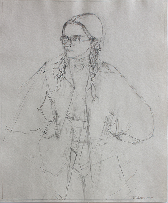 Annie Standing, pencil on paper, 17 x 14 inches, 1974. Collection of the artist.