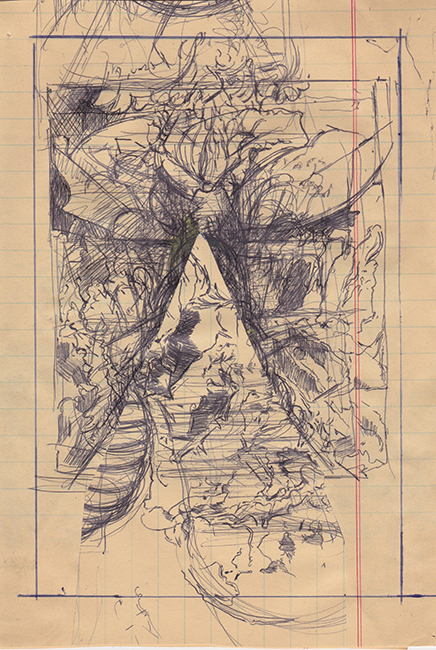 Tentacles, ballpoint pen on ledger paper, 9.75 x 6.125 inches, 1976.