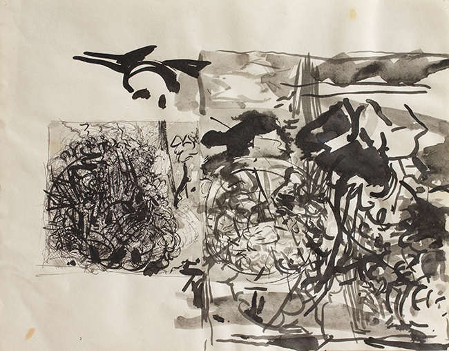 Untitled 1, Indian ink on paper, 10.875 x 13.875 inches, 1978. Collection of the artist.