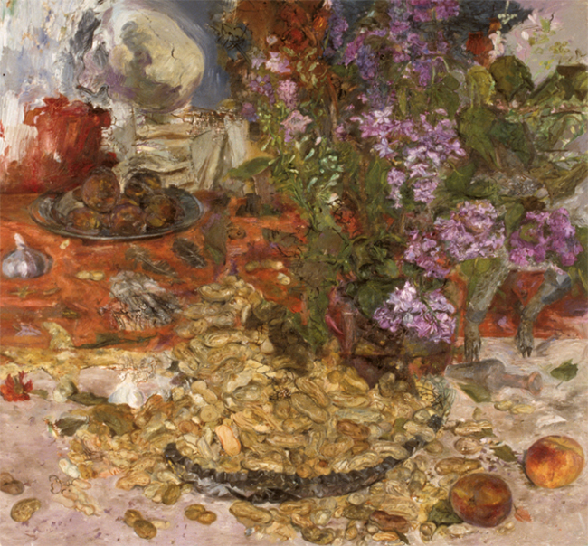 Lilacs, Peanuts and Peaches, oil on canvas, 26 x 28 inches, 1986. Collection of the RISD Museum, Providence, RI.