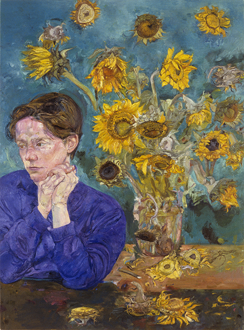 Annie with Sunflowers, oil on canvas, 38 x 28 inches, 1989-90. Collection of the artist.