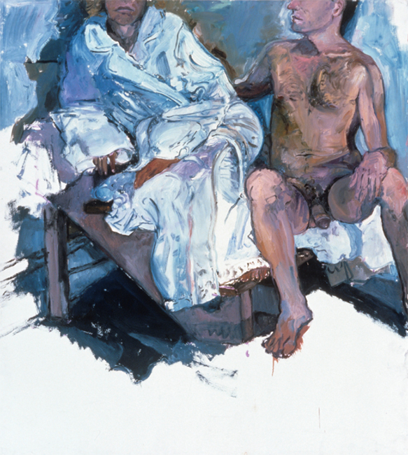 Nick and Andrea for Titorelli's Studio Three, oil on gessoed paper, 53 3/4 x 47 1/2 inches, 1991.