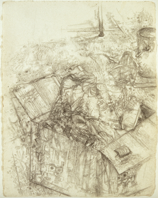 Box of Junk, pencil on watercolor paper, 10.75 x 10 inches, 1996. Private Collection.
