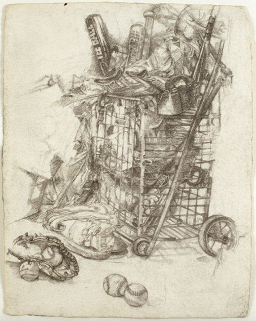 Shopping Cart, pencil and charcoal on paper, 2001. Collection of Luke Santore.