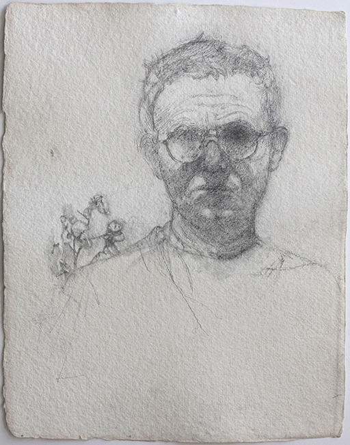 Self Portrait, pencil on watercolor paper, 13 x 10 inches, 2004.