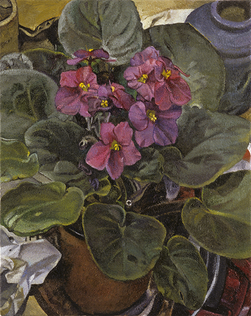 African Violets, oil on linen, 10 x 8 inches, 2007. Private Collection.