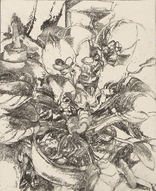 Study for Still Life with African Violet, charcoal and graphite on paper, 14.5 11 inches, 2007. Private Collection.