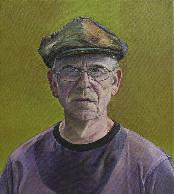 Self Portrait with Cap, oil on linen, 18 x15 1/2 inches, 2008