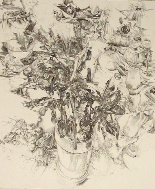 Study for Garden, charcoal, pastel and graphite on paper, 29.5 x 25.5 inches, 2008.