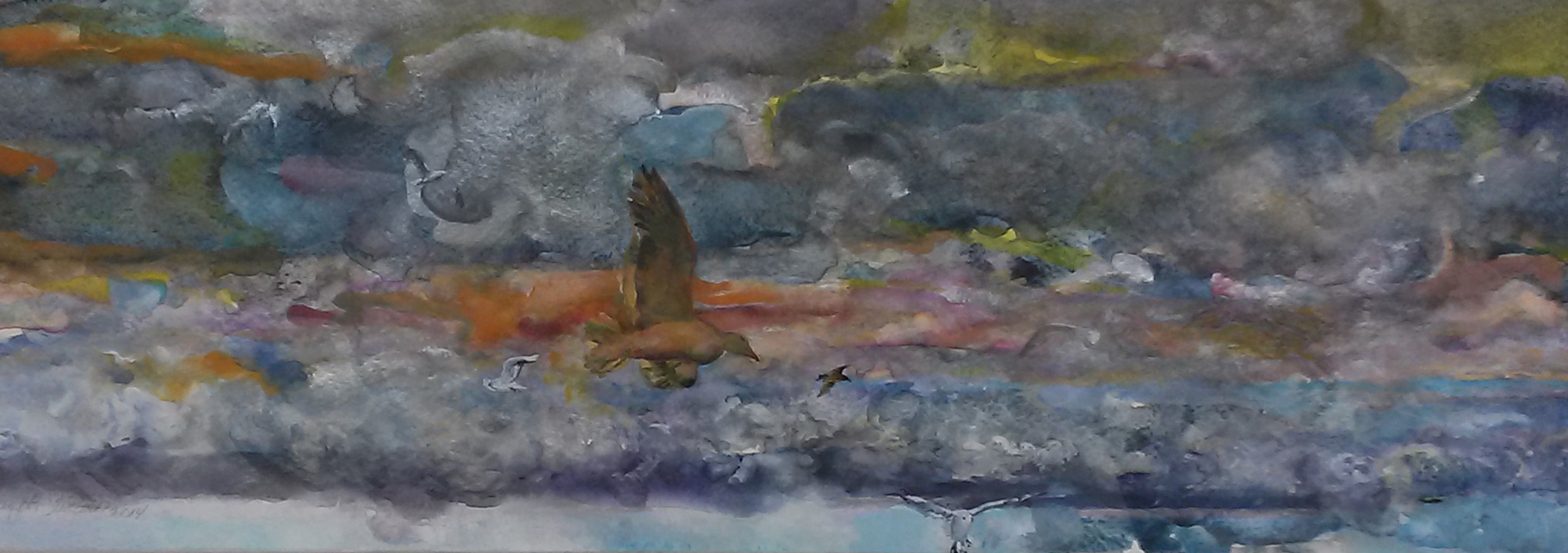 After the Storm (DETAIL), watercolor and gouache on watercolor paper, 6 x 40 1/4 inches, 2012-14