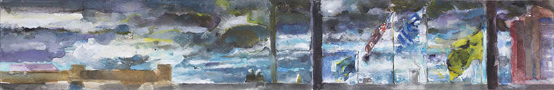 Before Sandy II, watercolor and gouache on watercolor paper, 3.75 x 23.875 inches, 2012