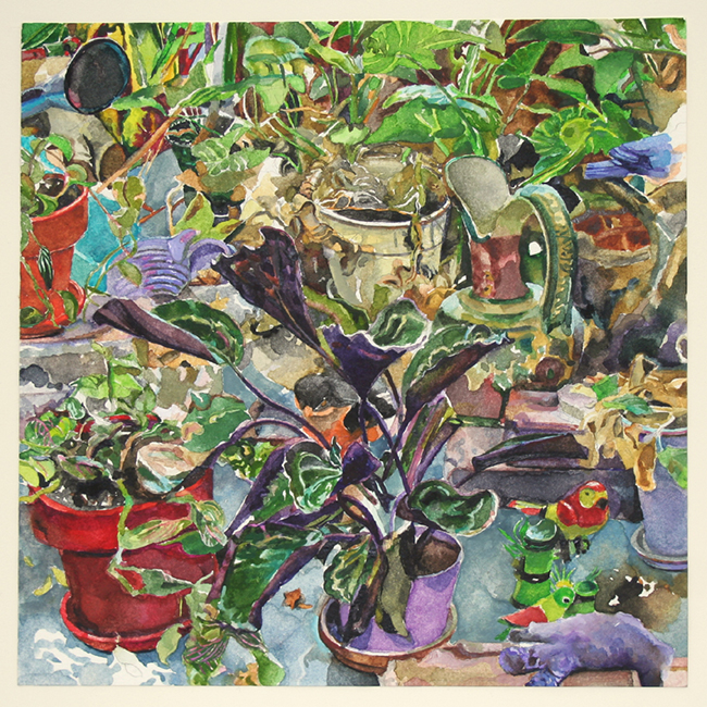 Plants, watercolor and gouache on watercolor paper, 7 7/8 x 7 7/8 inches, 2012