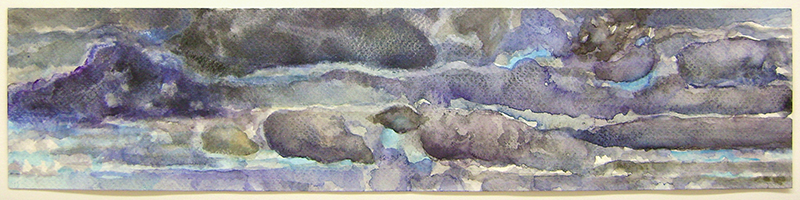 Clouds IV, watercolor and gouache on watercolor paper, 16 x 3 5/8 inches, 2012