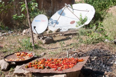 Bhutan - peppers and satelite dishes.
