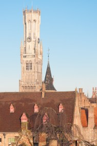 Belgium - Roofline with Belfry in Bruges.