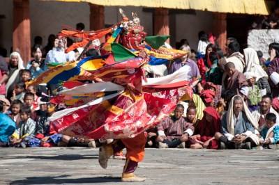 Bhutan - Cham dancer at Wangdi Festival.