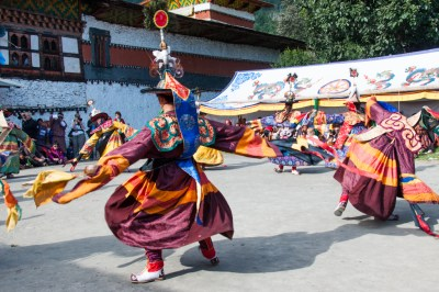Cham dancers at the Tamshingphala Festival.